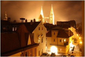 Building in the evening, Dom Hotel, Szeged