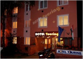 Building in the evening, Hotel Touring, Nagykanizsa